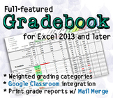 Full-featured Excel Gradebook: Weighted categories, reports, Google Classroom
