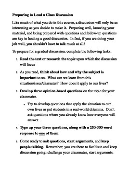 Graded Discussion Leader Sheet