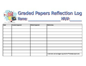 Graded Papers Parent and Student Sign Sheet