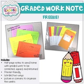Graded Work Note FREEBIE!