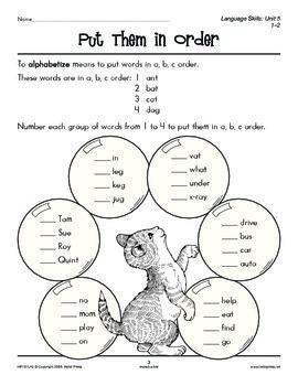 Grades 1-2 Language Arts Unit 5: Alphabetical Order