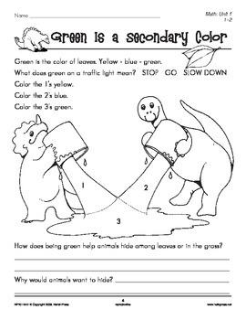 Grades 1-2 Math Unit 1: Prehistoric Pals Color Identification