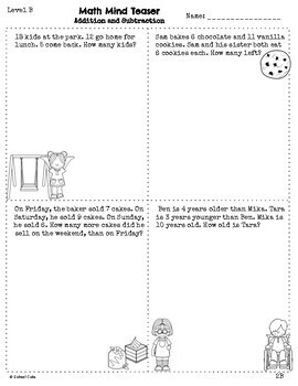 Grades 1-2 Math Word Problems Differentiated (Addition and Subtraction)