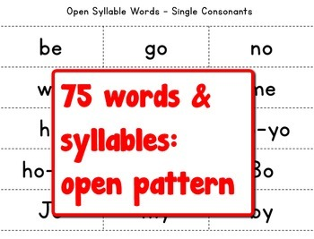Grades 1-2 Open Syllable Pattern Bingo Game