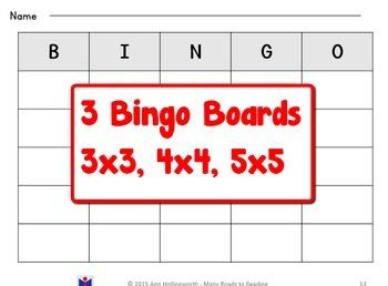 Open Syllable Bingo Game Grades 1-2