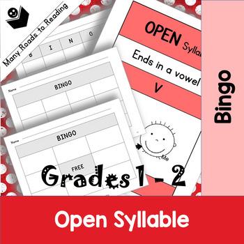 Grades 1-2 Open Syllable Pattern Bingo Game