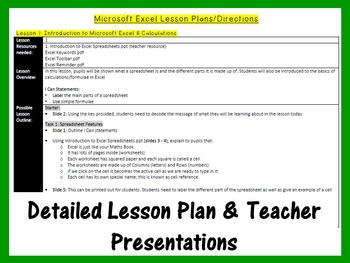 Grades 1- 4: Microsoft Excel The Lesson Plans Bundle