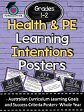 Grades 1 and 2 All HEALTH & PE  Learning INTENTIONS/success criteria posters. AC