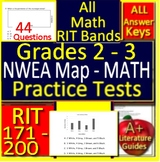 Grades 2 - 3 NWEA MAP Math Practice Test RIT 171 - 200 - Printable and Paperless