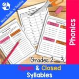 Open & Closed Syllable Sort Grades 2-3