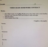 Grades 2-5 Weekly Homework Contract Cover Sheet