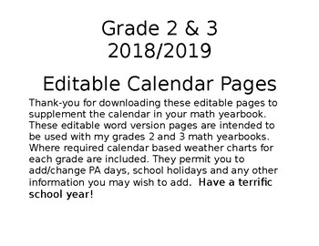 Grades 2 and 3 Calendar Editable Pages 2017/2018