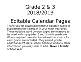 Grades 2 and 3 Calendar Editable Pages 2018/2019