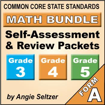 Grades 3-4-5 CCSS Math Self-Assessment and Review BUNDLE