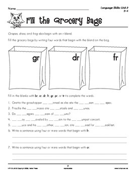 Grades 3-4 Language Arts Unit 2: Consonant Blends