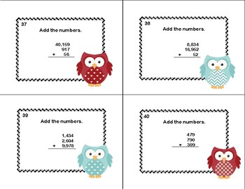 Grades 3-4 Math Task Cards-2-5 Digits With 3 Numbers Column Addition