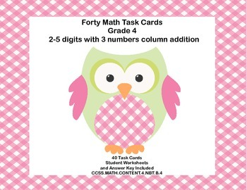 Grades 3-4 Math Task Cards-2-5 Digits with 3 Numbers Colum