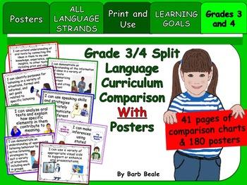 Grades 3 & 4 Split Language Curriculum Comparison Charts & Posters - 223 pages