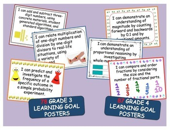 Grades 3 & 4 Split Math Curriculum Comparison Charts & Posters - 203 pages