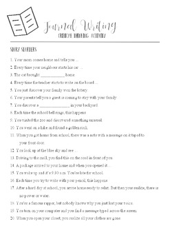 Grades 3 & 4 Story Starters | Critical Thinking Journaling Activity
