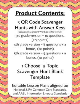 Grades 3, 4, and 5 QR Code Encyclopedia Scavenger Hunts & Lesson Plans