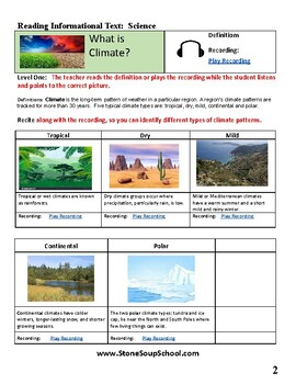 """Grades 3 -5  """"Climate Types""""  for Hearing Impaired"""