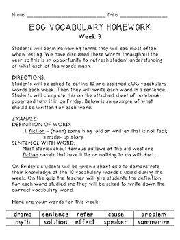 Grades 3-5 End of Grade (EOG) Test -Prep: Weekly Vocabulary Homework & Quizzes