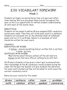 Grades 3-5 End of Grade (EOG) Test -Prep: Weekly Vocabulary Homework & Quizzes