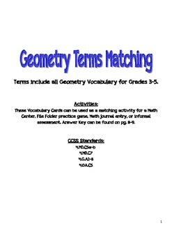 Grades 3-5 Geometry VocabularyTerms Matching