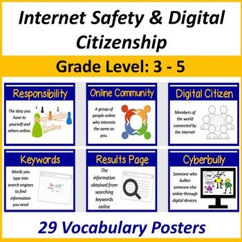 Grades 3-5: Internet Safety & Digital Citizen Vocabulary Posters