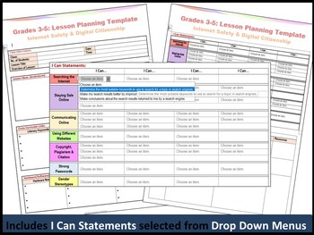 Grades 3-5: Internet Safety Editable Lesson Plan Template (I Can Statements)