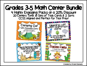 Grades 3-5 Math Center Bundle: 4 Packs at 20% Discount {20 Centers Total}