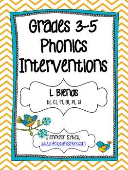 L Blends ~ Phonics Interventions, Grades 3-5 Lesson Plans