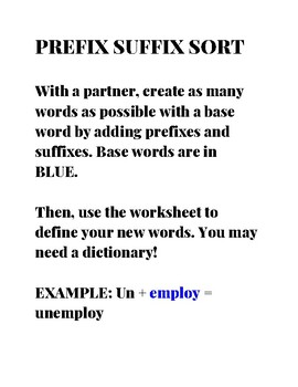 Grades 3-5 Prefix Suffix Sort Game