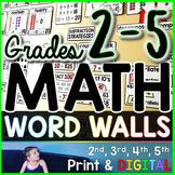 Grades 2-5 Math Word Wall Bundle - print and digital