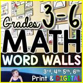 Grades 3-6 Math Word Wall Bundle - print and digital