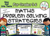 Grades 3-6 Maths Problem Solving Strategies {Navy and Lime Theme}