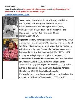 Grades 3 - 8 Students w/ Visual Impairments - International Human Rights Leaders