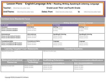Split Grades 3 and 4 Common Core Aligned Interactive Lesson Plan Templates