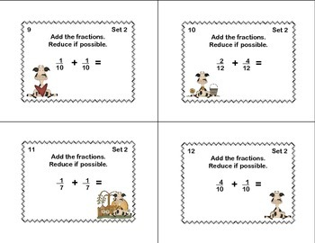 Grades 4-5 Fractions Task Cards- Reducing, Adding, and Subtraction