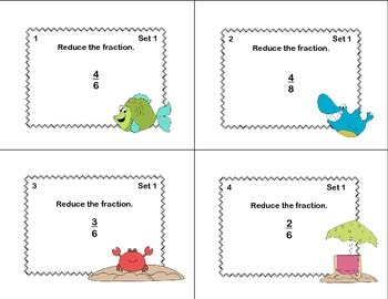 Grades 4-5 Fractions Task Cards- Reducing, Adding, and Subtraction Beach Theme
