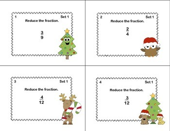 Grades 4-5 Fractions Task Cards- Reducing, Adding, and Subtraction-Christmas