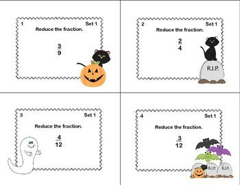 Grades 4-5 Fractions Task Cards- Reducing, Adding, and Subtraction-Halloween