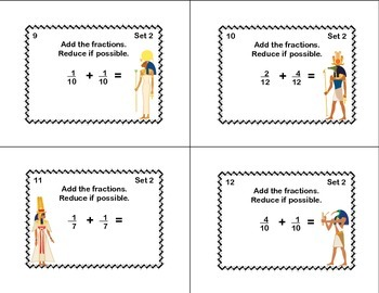 Grades 4-5 Fractions Task Cards- Reducing, Addition, and Subtraction