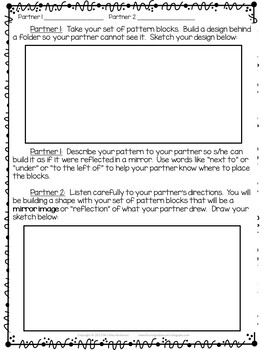 Grades 4-5 Pattern Block Partner Reflection Activity