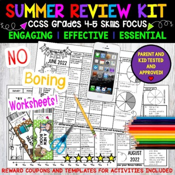 Summer Review, 4-5, NO PREP! 3 Calendars, 65 Activities.Parent Letters Included.