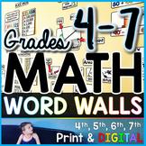 Grades 4-7 Math Word Wall Bundle - print and digital