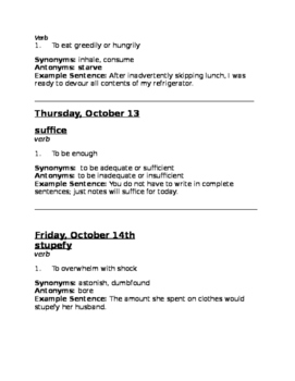 Grades 5, 6, 7 Vocabulary- October Word of the Day and Quiz