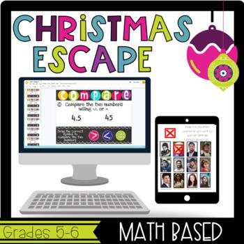 Grades 5&6 Christmas Escape Room-Math Based, Team Building, Review Game