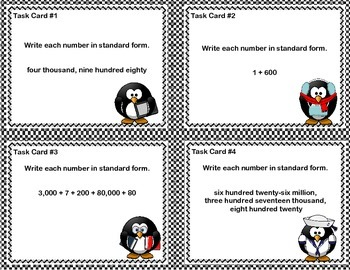 Grades 5-6 Math Task Cards - Place Value - Write Each Number in Standard Form